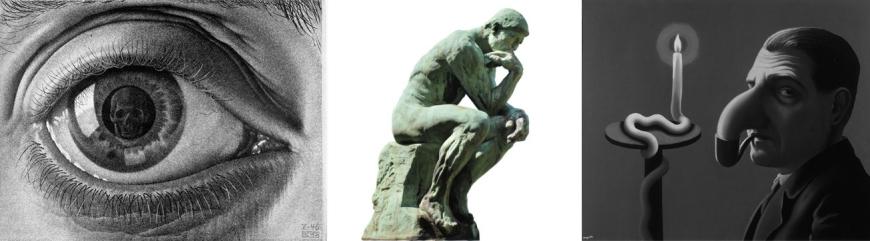 Ils se sont regardés penser. De gauche à droite : Escher (Eye), Rodin (son Penseur) et Magritte devant sa Lampe philosophique